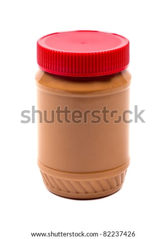 Studio shot of Jar of Peanut Butter on white background