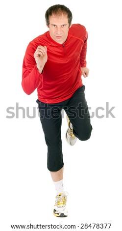 studio shot of male runner over white  background