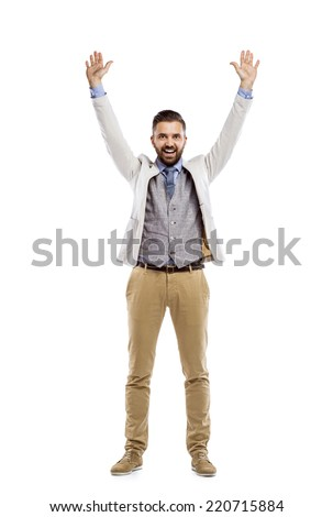 Studio shot of modern hipster businessman with hands up, isolated on white background #220715884