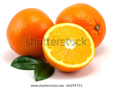 Studio shot of oranges and leafs on white background