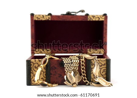 Studio shot of Overflowing Treasure Chest isolated on white