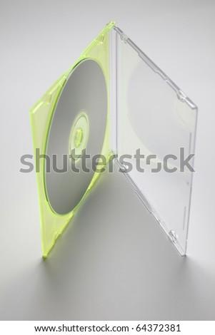 Studio shot of plastic CD or DVD case on plain background