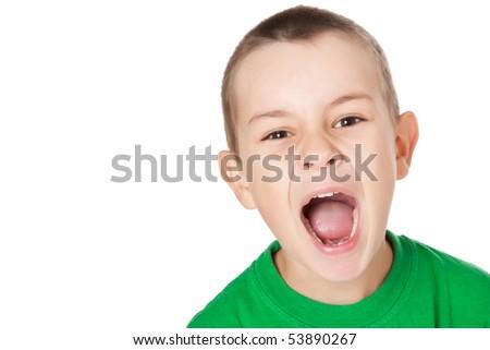 studio shot of screaming boy