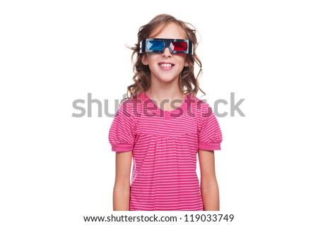 studio shot of smiley girl in 3d glasses over white background
