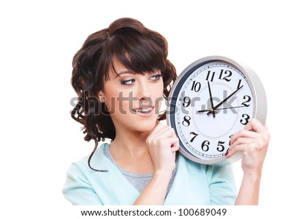 studio shot of smiley woman looking at clock. isolated on white
