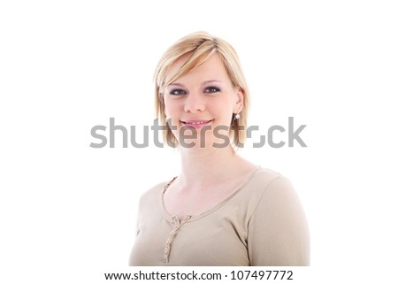 Studio shot of smiling blonde woman isolated on white - stock photo