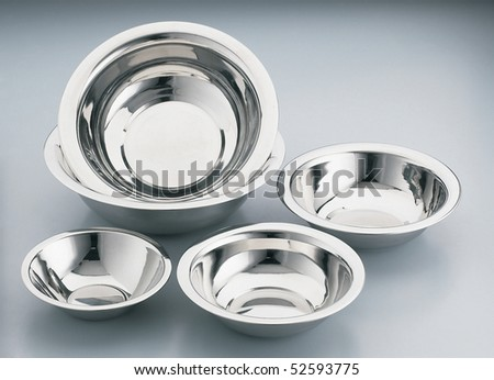 Studio shot of stainless steel bowls on clean background.