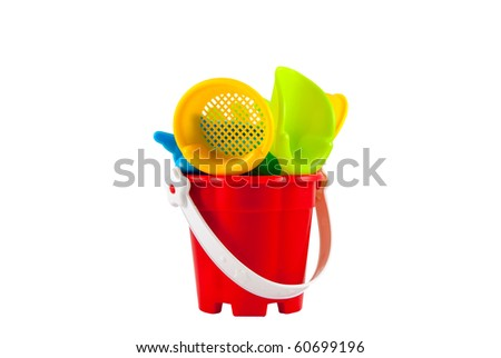 Studio shot of the beach toys isolated on white