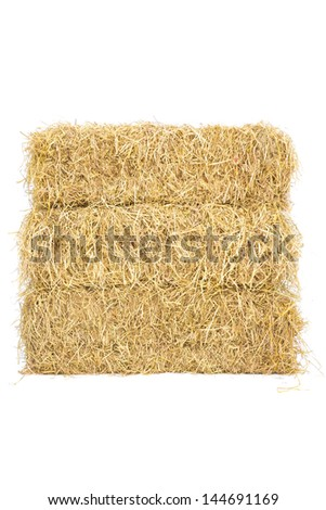 studio shot of three layers straw hay on white background #144691169