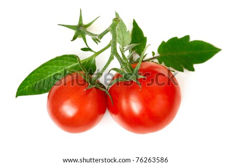 Studio shot of two juicy tomatoes with fresh leaves on white background