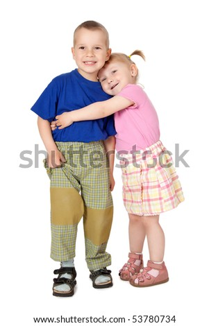 studio shot of two loving child - stock photo