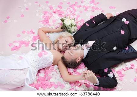Studio shot of wedding couple