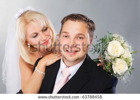 Studio shot of wedding couple