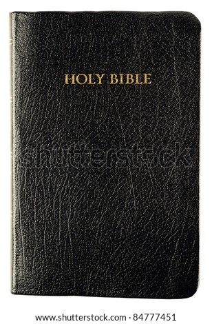 Studio shot of well read Holy Bible shot on white surface