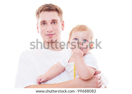 studio shot of young father and son. isolated on white