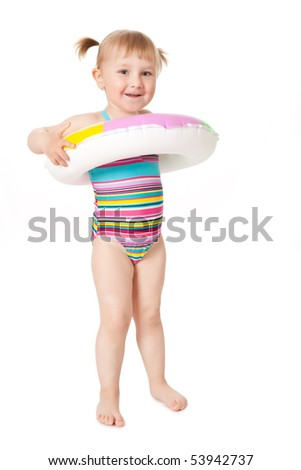 studio shot of young girl in swimsuits