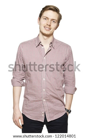 Studio shot of young man against a white background.