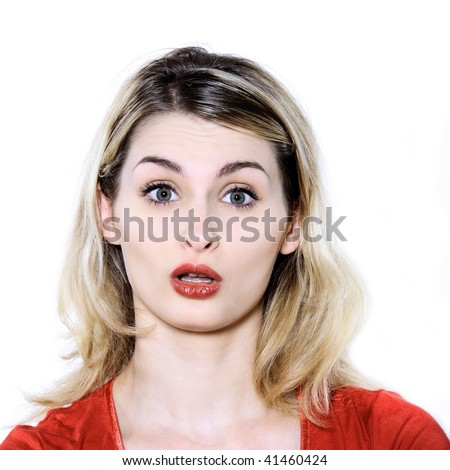 studio shot portrait isolated of young blond long hair woman #41460424