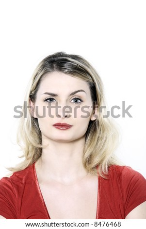 studio shot portrait isolated of young blond long hair woman
