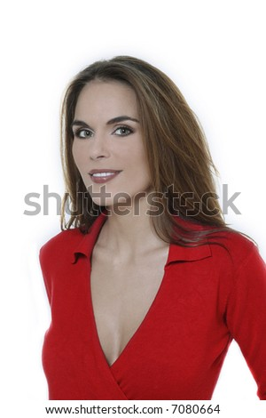 studio shot portraits of a young and cute smiling woman on a white background