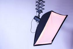 studio soft box  on light wall background