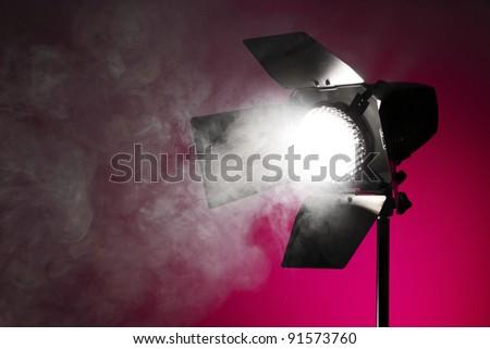 Studio spot light with smoke