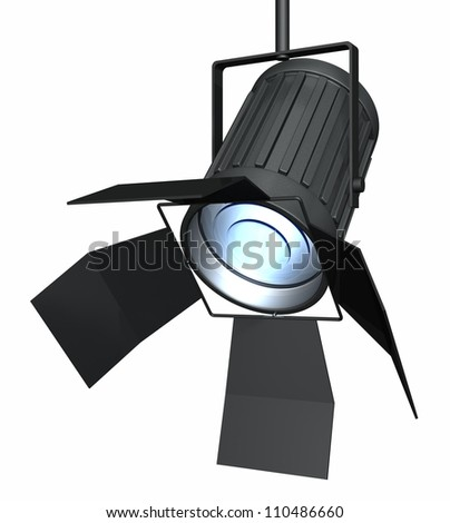 Studio spotlight isolated on a white background. Computer generated 3d object.