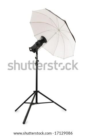 Studio strobe isolated on the white background