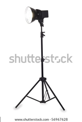 Studio strobe on white background