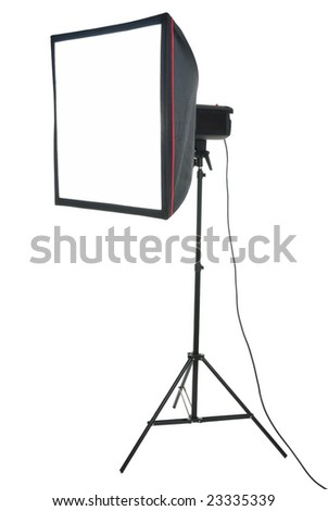 Studio strobe with softbox isolated on the white