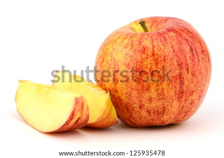 Studio work of a Gala apple which is a golden delicious cross
