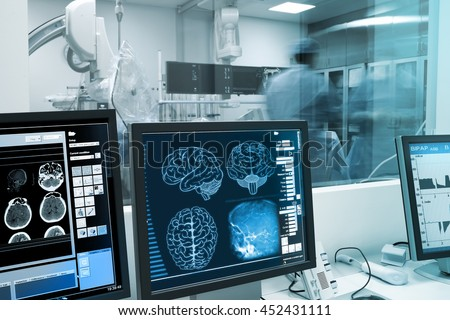 Study and practice with the human brain in x-ray laboratory.