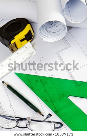 Study architecture. Tools, drawings, ruler, pen, square ...