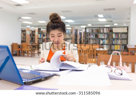 study education, woman worked in the library