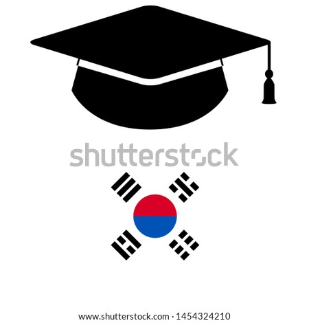 Study in South Korea - Illustration, Icon, Logo, Clip Art or Image for Cultural, Educational or State Events. Celebrating Scholarship Award on Summer.