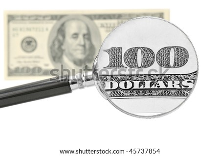 Study of hundred-dollar bills through a magnifying glass