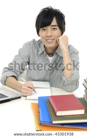 studying young boy