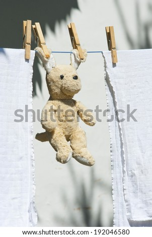 stuffed animal hanging on clothesline