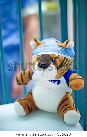 Stuffed animals dressed in operating room attire are often given to pediatric patients to help them cope with their surgery. A tiger wears a scrub hat. (High resolution,14MP camera)