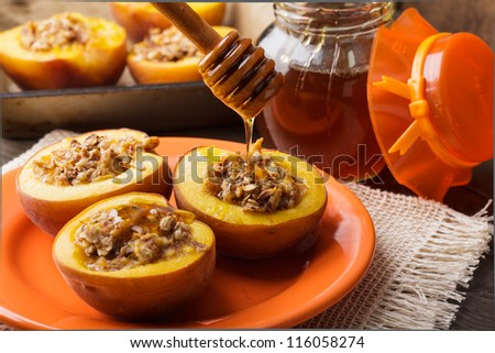 Stuffed Baked Peaches with almond and honey