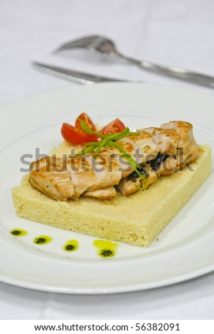 stuffed chicken breast, olives and lemon flavours with citrus couscous ...
