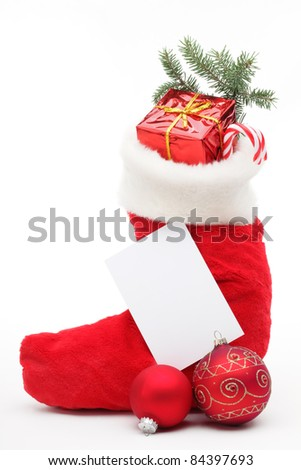 Stuffed Christmas stocking with blank card