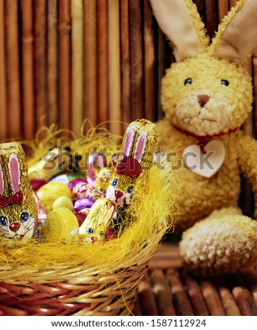 Stuffed Easter bunny and basket of candies