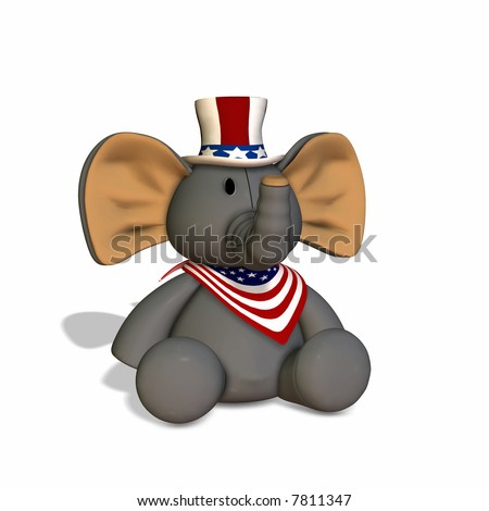 Stuffed Elephant Republican Political Elephant