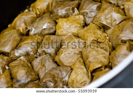 stuffed grape leaves in a pan