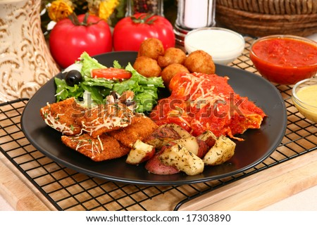 Stuffed mushrooms, fried ravioli, oven baked potatoes, marinara, honey mustard, ranch dressing, Cheese Manicotti, salad.