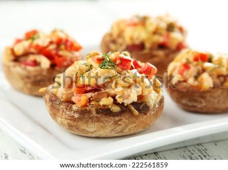 Stuffed mushrooms on plate