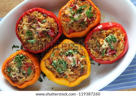 Stuffed paprika with meat, rice and vegetables.