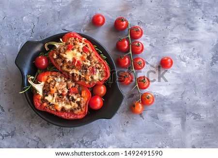 Stuffed peppers minced meat with vegetables in the Mexican style. Bulgarian pepper. The view from the top. The view from the top. National cuisine Stock photo ©