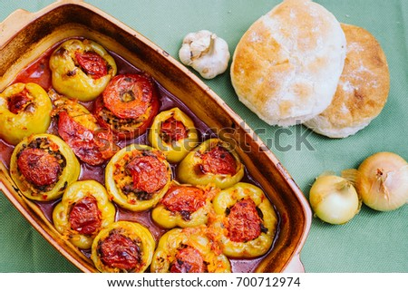Stuffed peppers. Perfect comfort food. Stuffed bell peppers baked in the oven. Turkish-style Stuffed Peppers, Biber Dolmas. Mediterranean recipe.